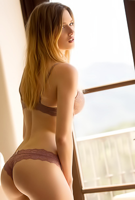 /Ashley Lane Ashley Lane caresses her perfect body in front of the window