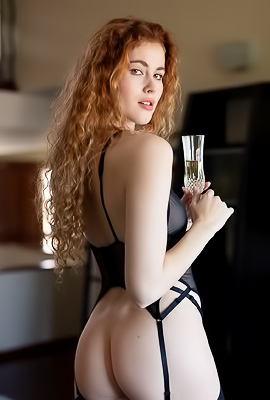 /Heidi Romanova Beautifully In Hot Black Lingerie